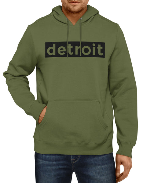 Detroit Hoodie Mens Hooded Sweatshirt Military Green by Detroit Rebels
