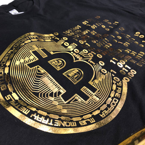 (0076) Vintage Golden Bitcoin T-Shirt For Crypto Currency Traders, Bitcoin gold logo.
