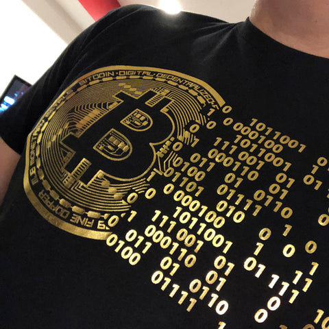 (0075) Vintage Golden Bitcoin T-Shirt For Crypto Currency Traders, Bitcoin gold logo.