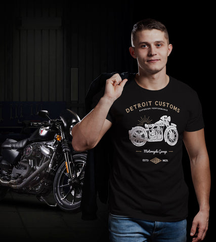 (0007) Detroit Customs Motorcycles T-Shirt, Detroit T-Shirts LLC