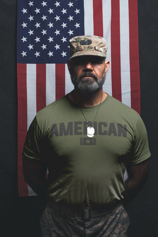(0108) American T-shirt for proud Americans and Veterans by Detroit Rebels Brand