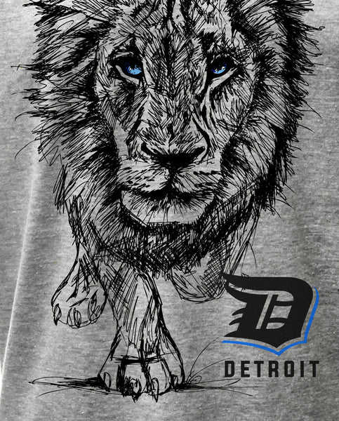 0089 Detroit Lion T Shirt Lions Sketch Detroit T Shirt Detroit Rebels Brand