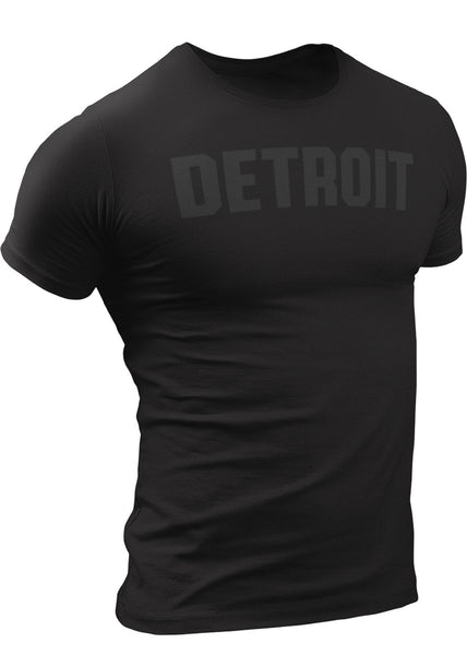 (0106) Detroit Black-On-Black Logo T-shirt, Detroit Rebels Brand