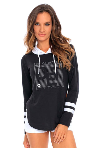 (L0009) CITY OF DETROIT 2-Color Oversized Hoodie, Detroit T-Shirts LLC, DETROIT REBELS