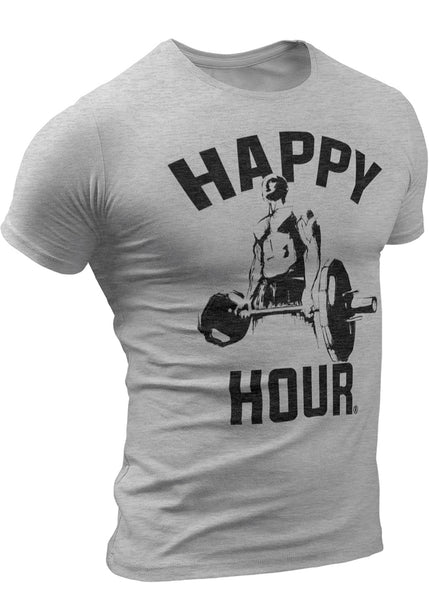HAPPY HOUR Crossfit Workout Weightlifting Funny T-Shirt for Men