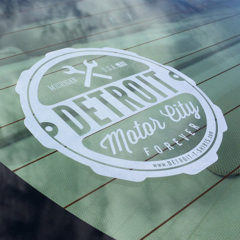 Detroit Motor City Forever Window Sticker - Detroit T-Shirts | Detroit Apparel | Detroit Clothing | Screen Printing & Design