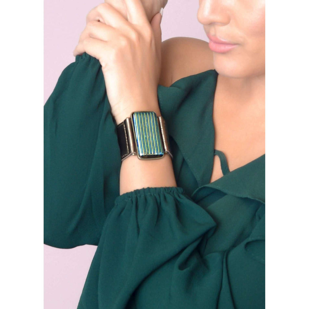 Glow collection bracelet- Metallic bronze leather band with dichro strips glass