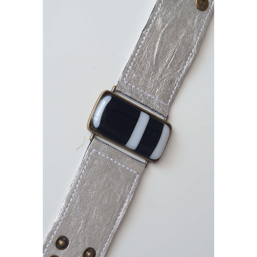 Glow collection bracelet- Metallic silver leather band with black and white design glass