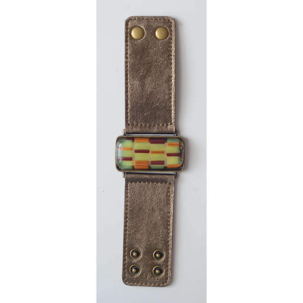 Retro collection- Bronze leather strap with shades of green design