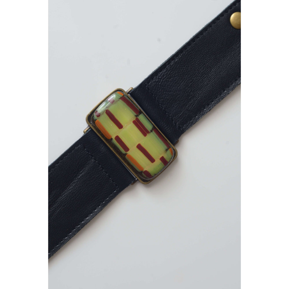 Retro collection- Black leather strap with shades of green design