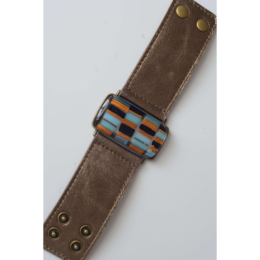 Retro collection- Bronze leather strap with shades of blue design