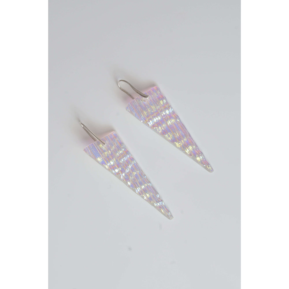 Shir earring long- Wrinkle and stripes dichro glass