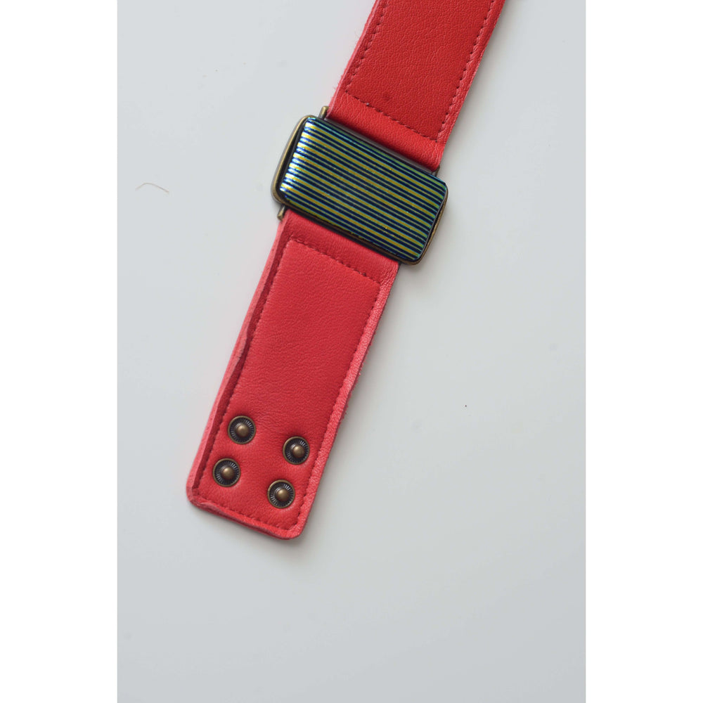 Glow collection bracelet - Red leather strap with dichro strip glass