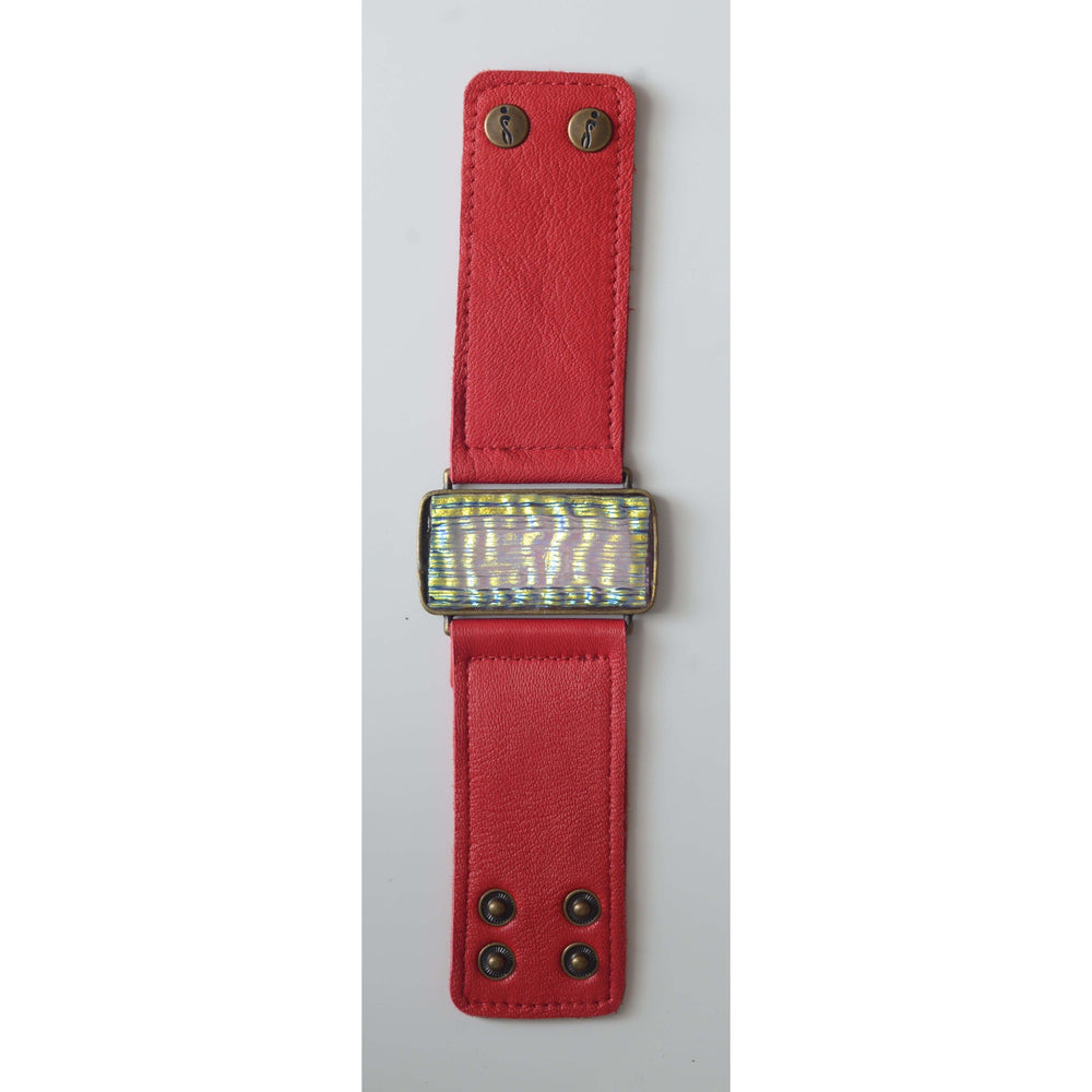 Glow collection bracelet- Red leather band with metallic glass