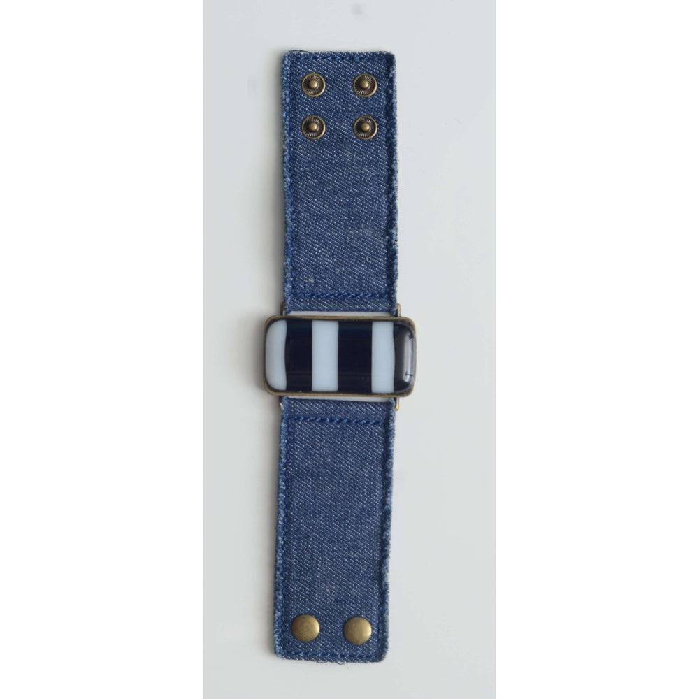 Timeless collection bracelet- Jeans strap with black and with strips glass