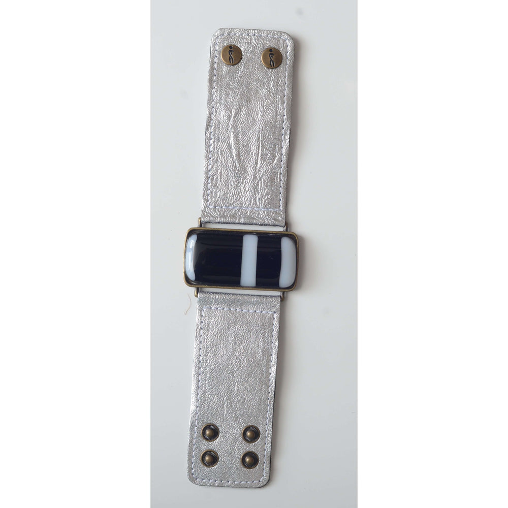 Timeless collection bracelet- Metallic silver leather strap with black and white glass