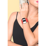 Timeless collection bracelet- Red leather strap with black and with strips glass