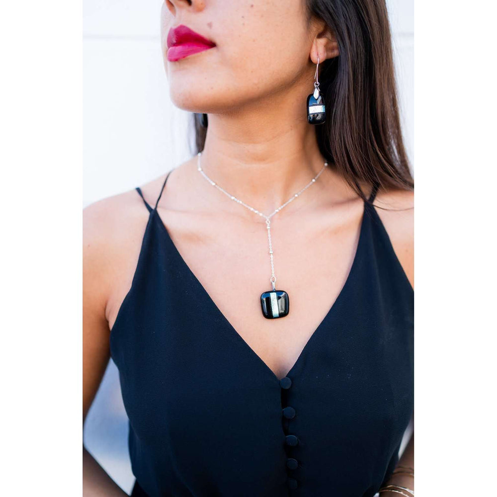 Divi Necklace- black with silver dichro strip