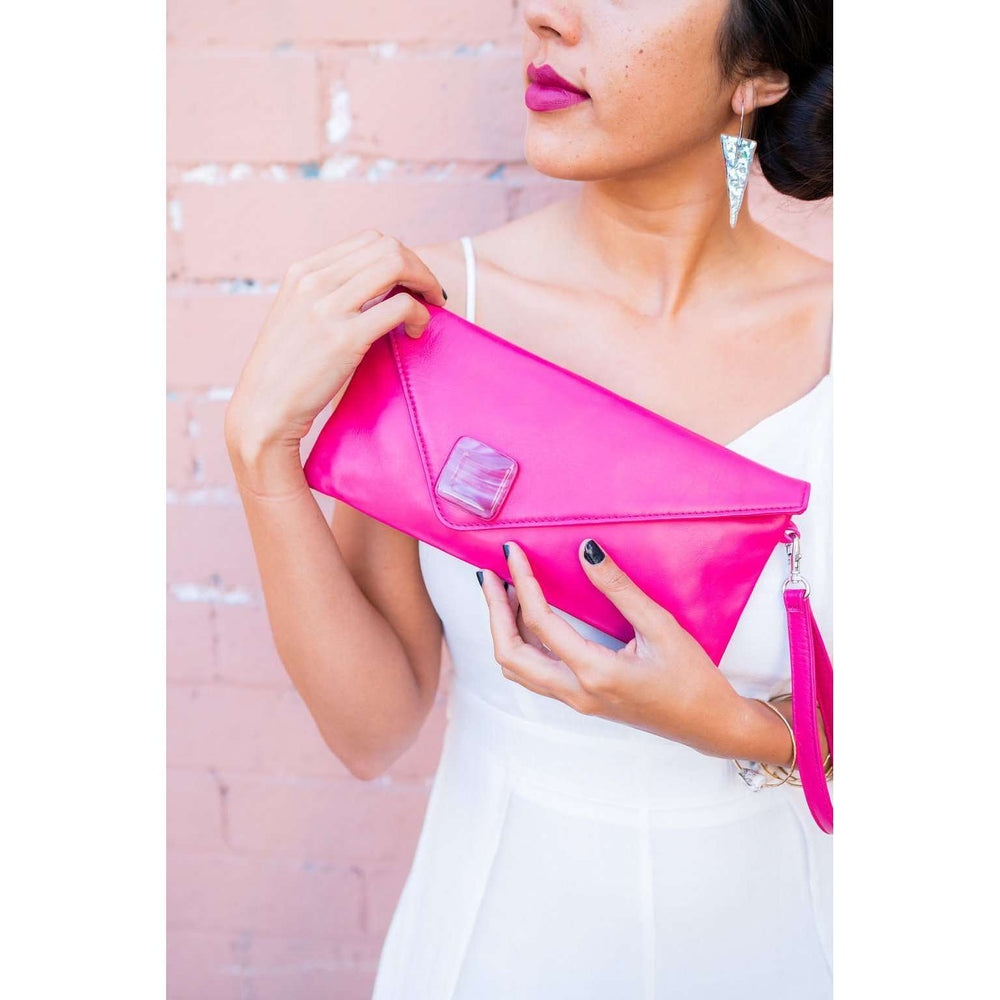 Fuchsia clutch with fused glass design