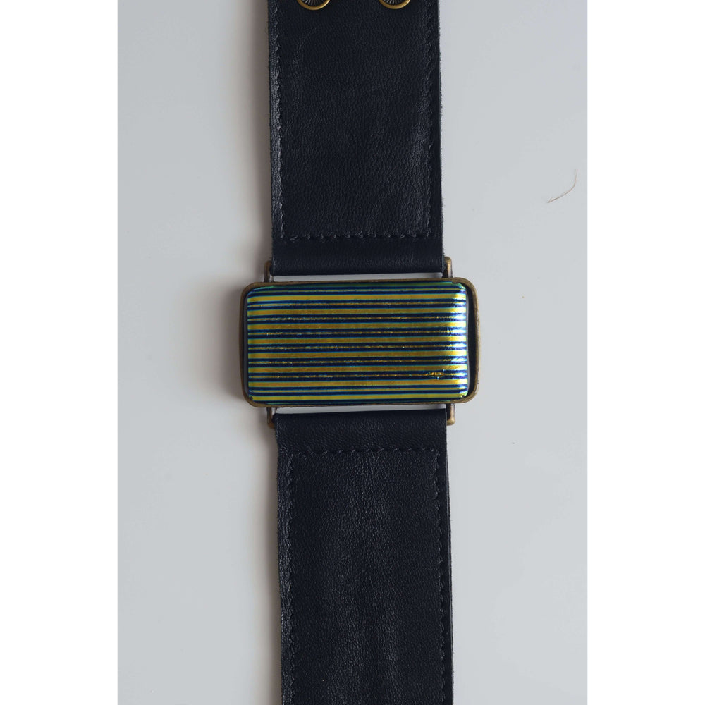 Glow collection bracelet - Black leather strap with dichro strip glass