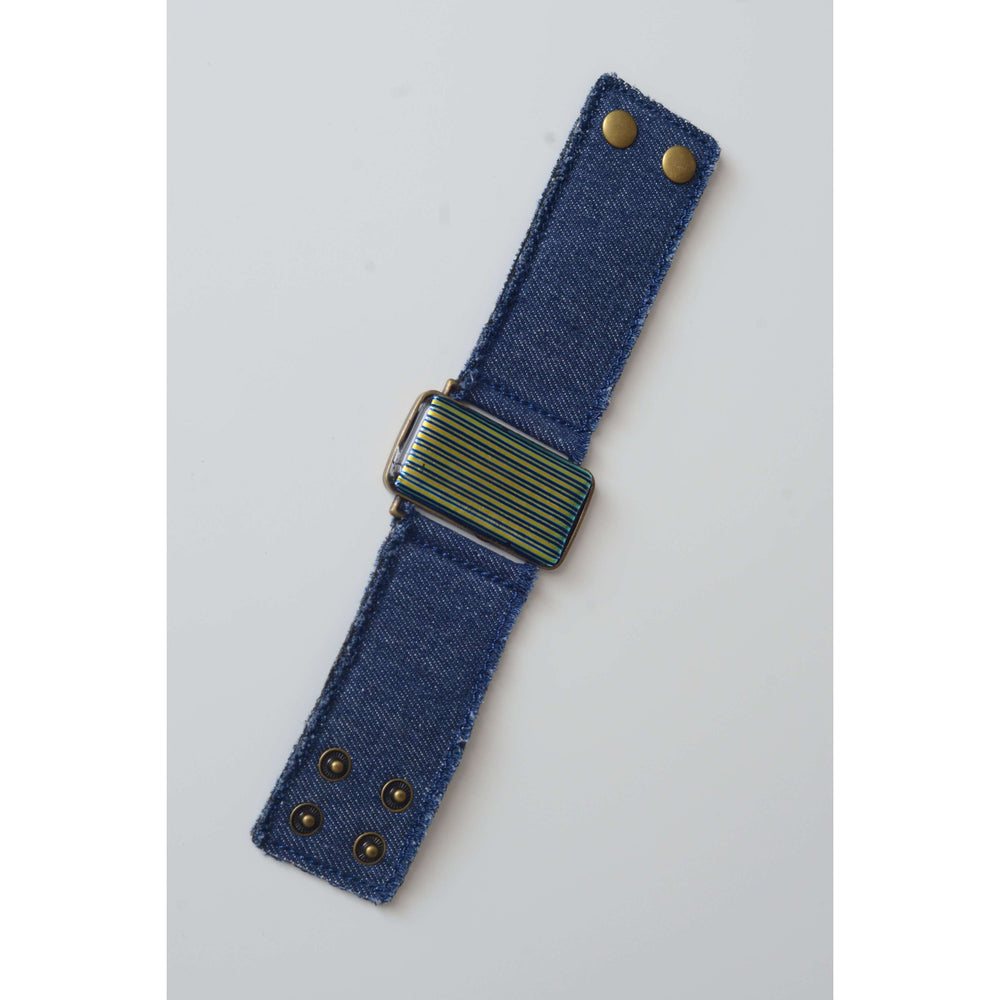 Glow collection bracelet - Denim strap with dichro strip glass
