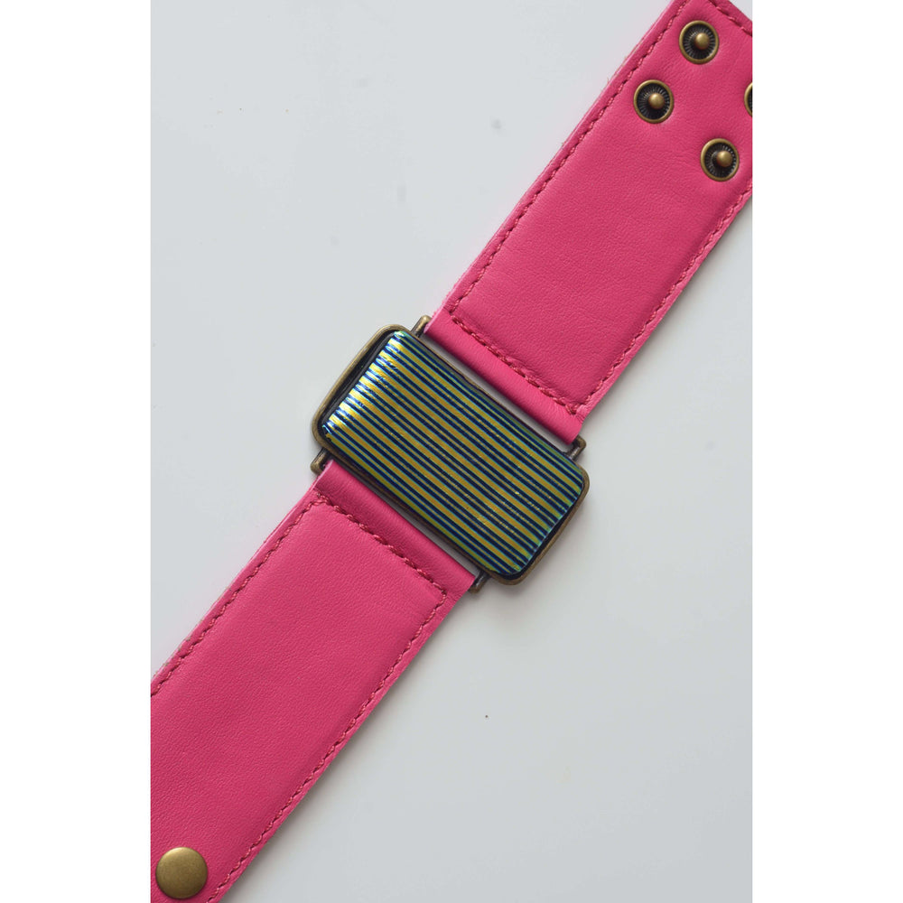 Glow collection bracelet - Pink leather strap with dichro strip glass
