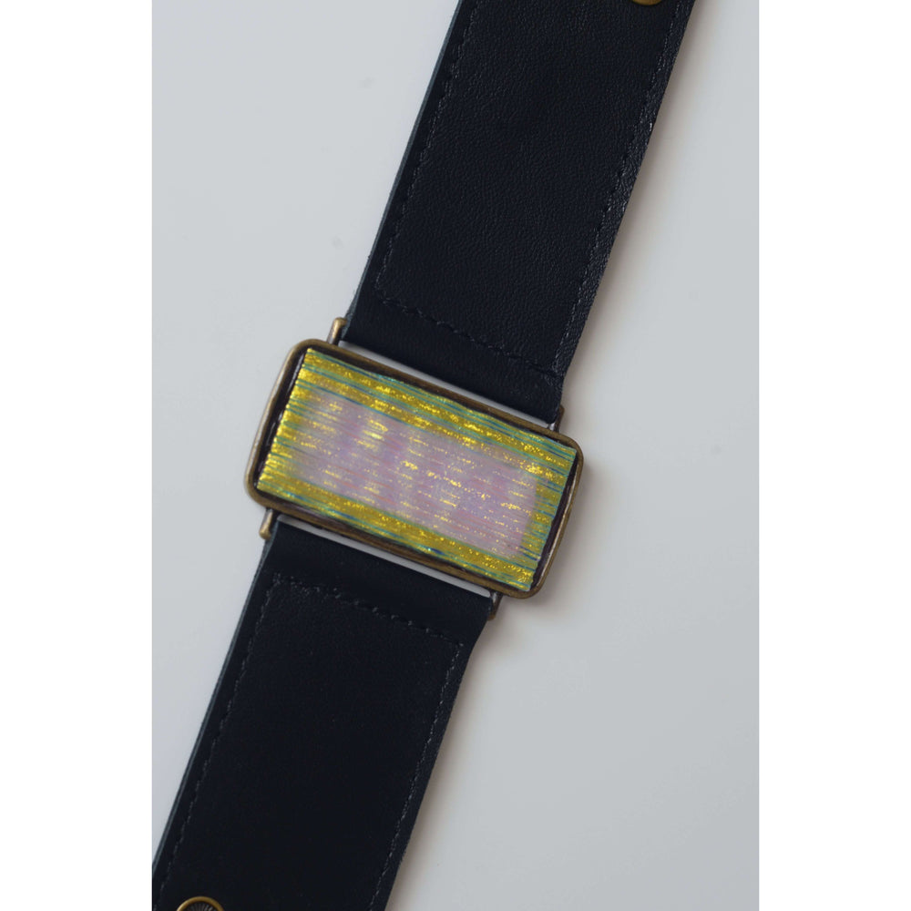 Glow collection bracelet- Black leather band with metallic glass