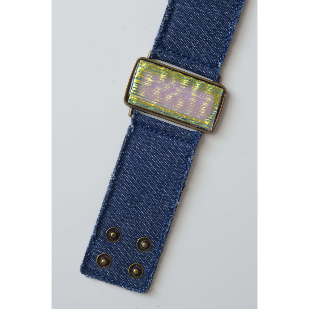 Glow collection bracelet- Denim band with metallic glass