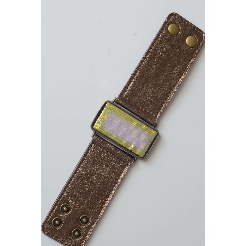 Glow collection bracelet- Metallic bronze leather band with metallic glass