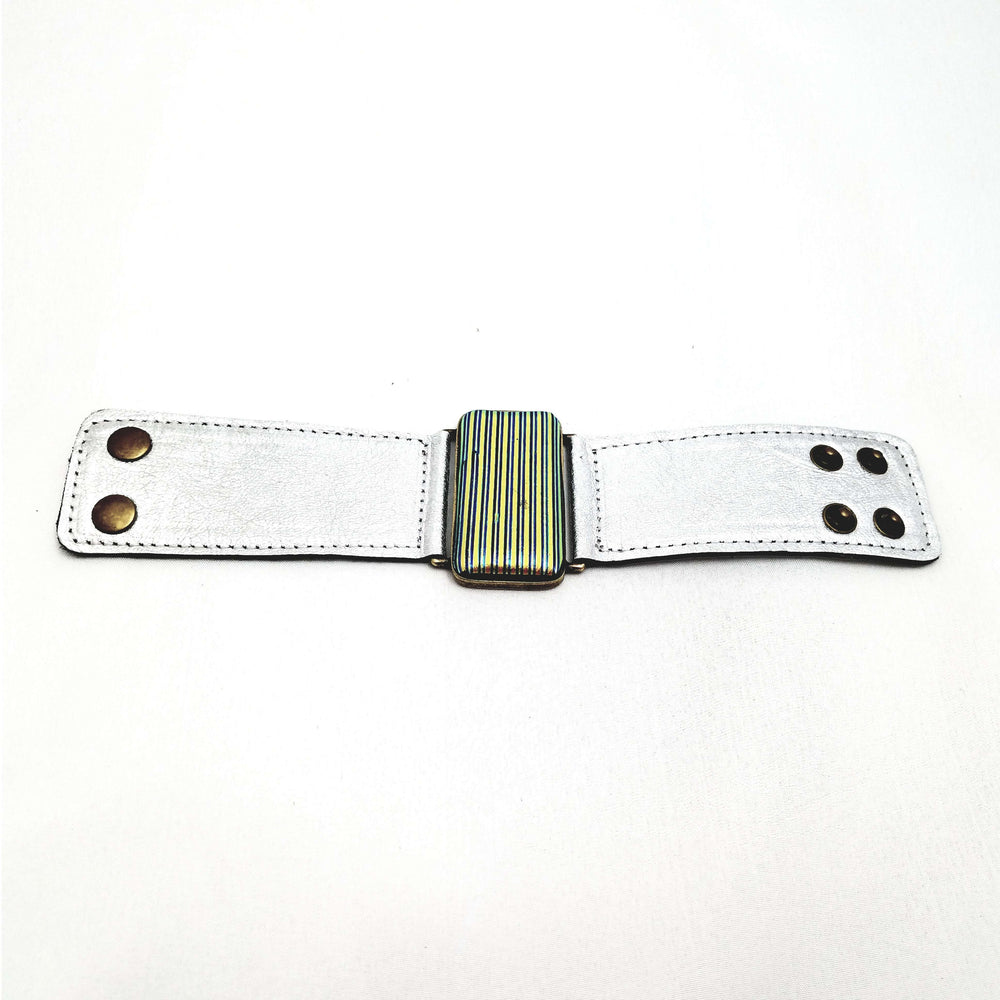 Glow collection bracelet- Metallic silver leather band with metallic glass