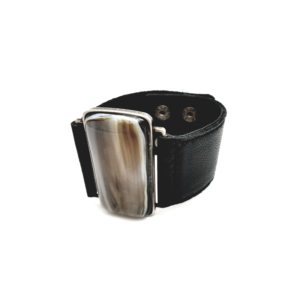 Ilanit Bracelet- Black leather strap with marble brown glass