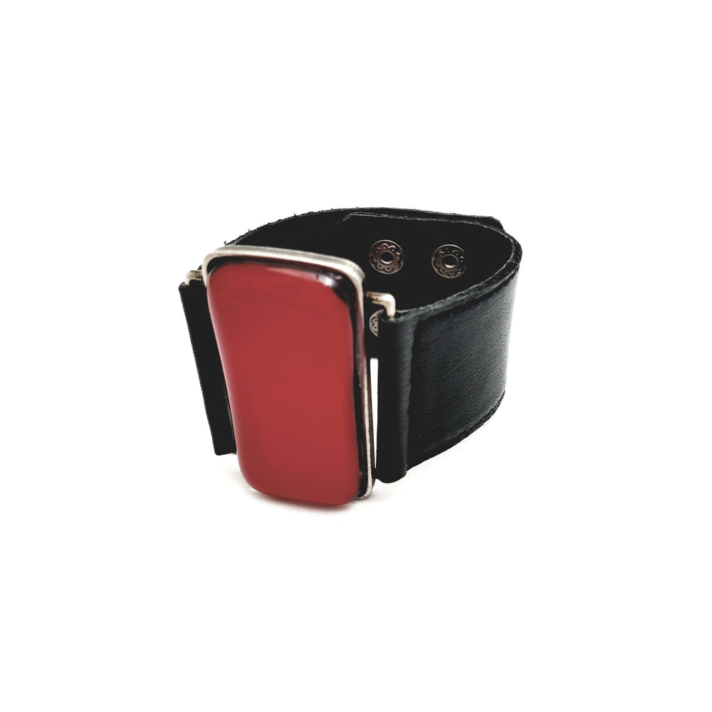 Ilanit bracelet- Black leather strap with red glass