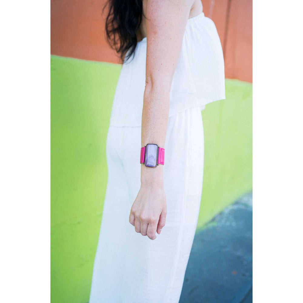 Ilanit Bracelet- Pink strap with marble pink glass
