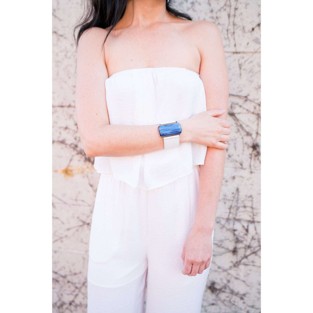 Ilanit Bracelet- White band and marble blue glass