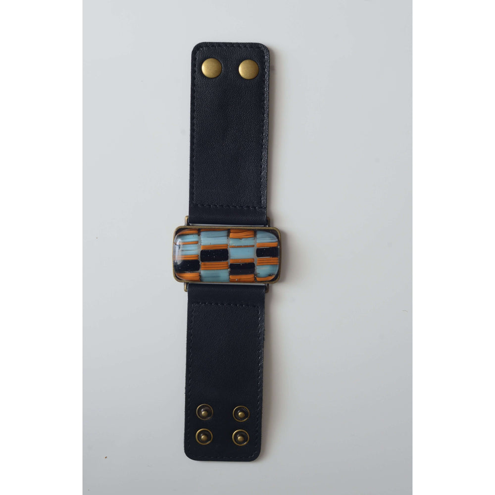 Retro collection- Black leather strap with shades of blue design