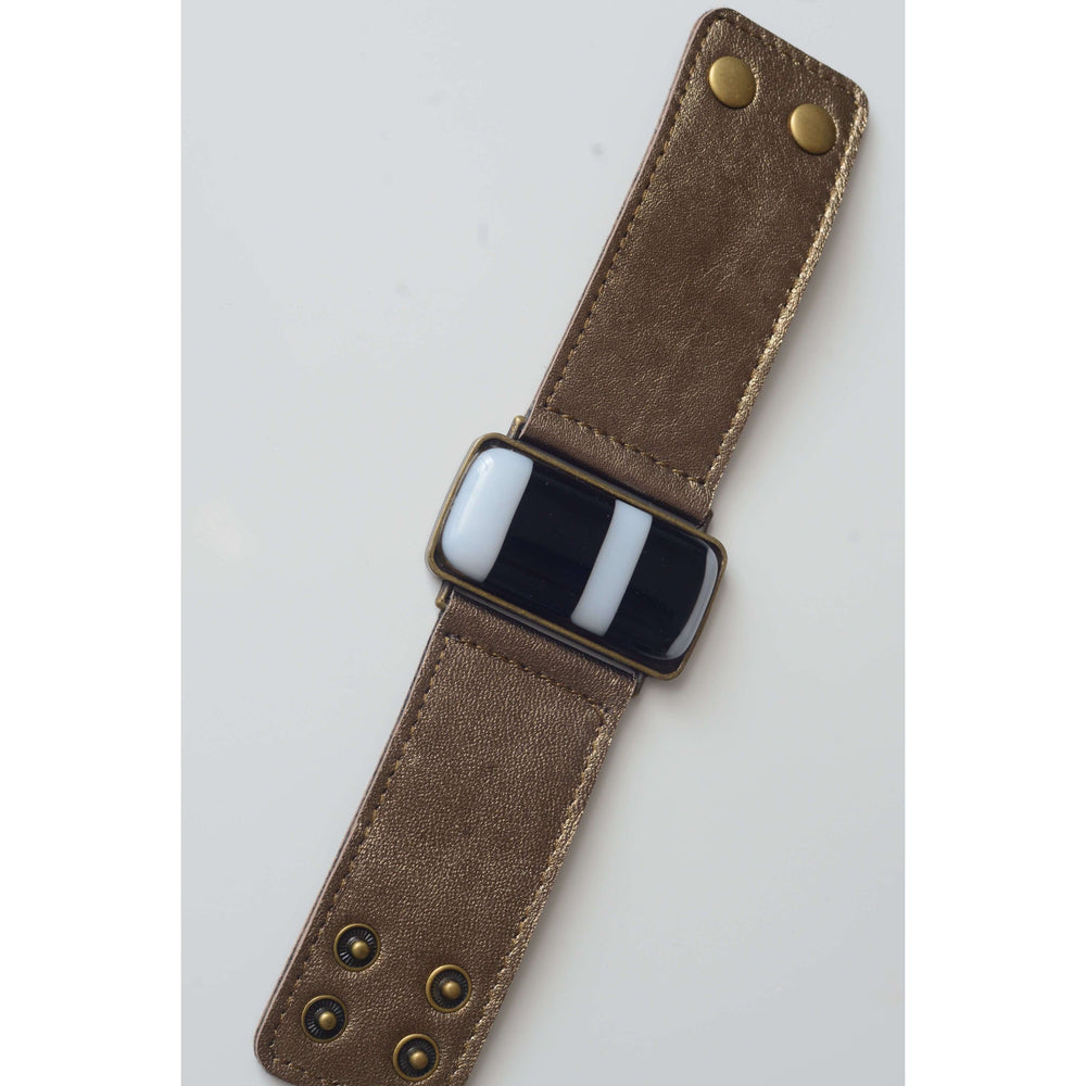 Timeless collection bracelet- Bronze leather strap with black and with strips glass
