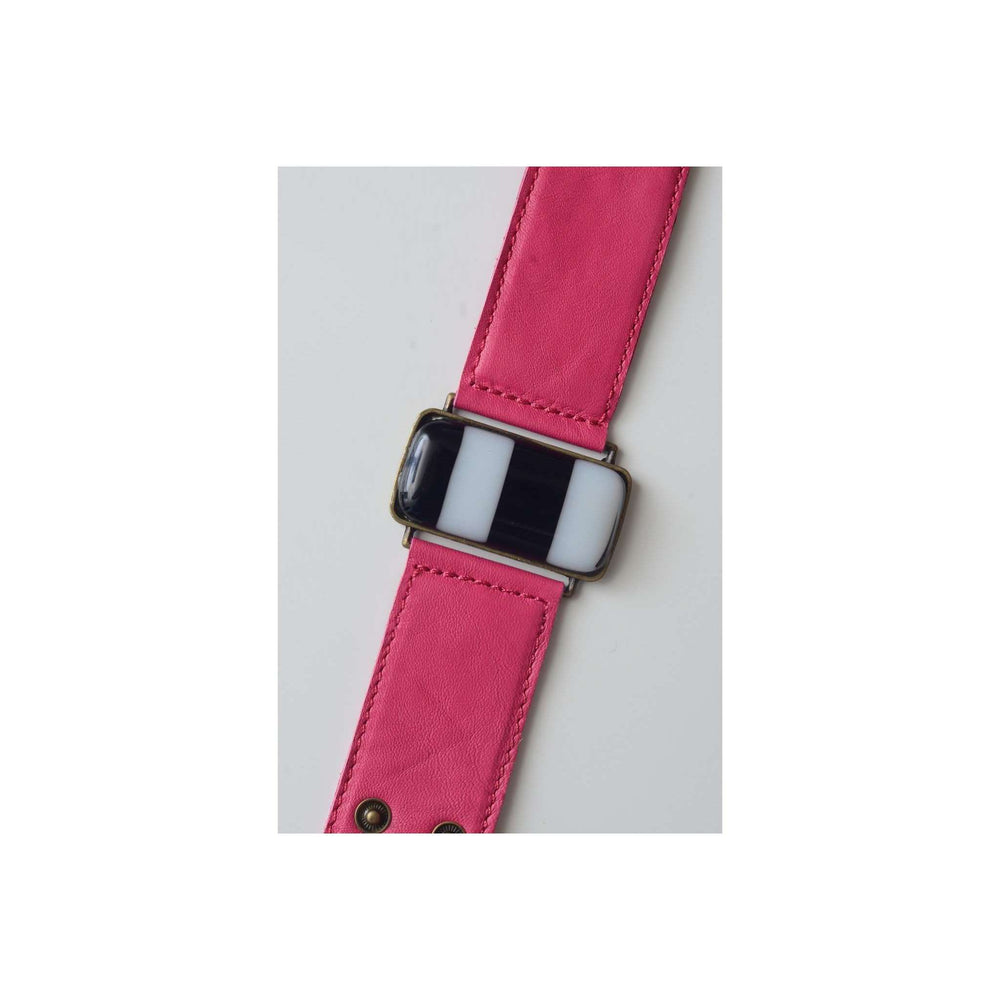 Timeless collection bracelet- Pink leather strap with black and with strips glass
