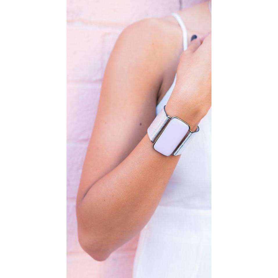 Timeless collection bracelet- White leather strap with baby pink glass