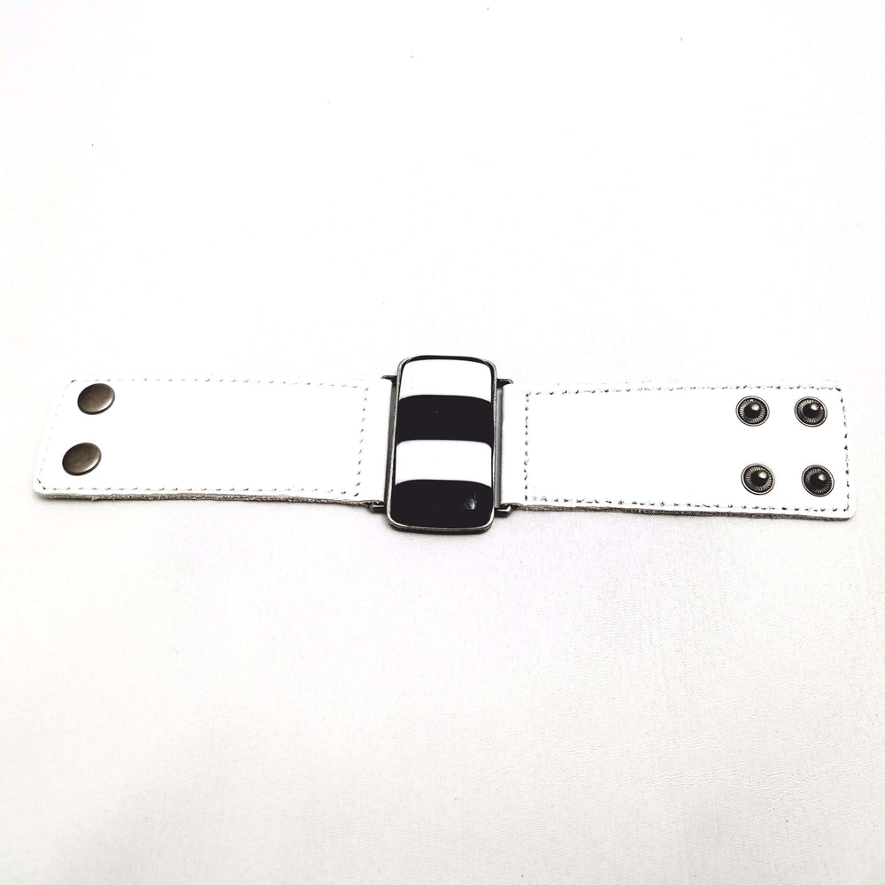 Timeless collection bracelet- White leather strap with black and white glass