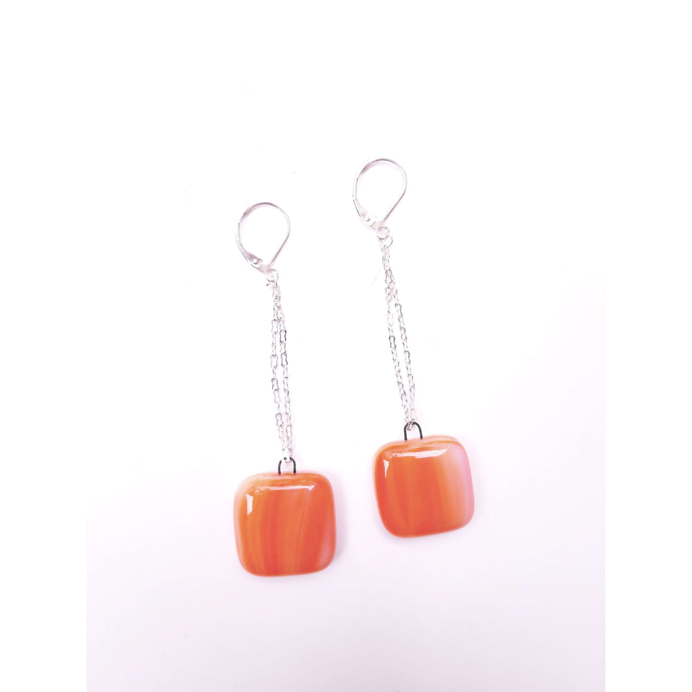 Timeless collection earring- Chain with marble orange glass