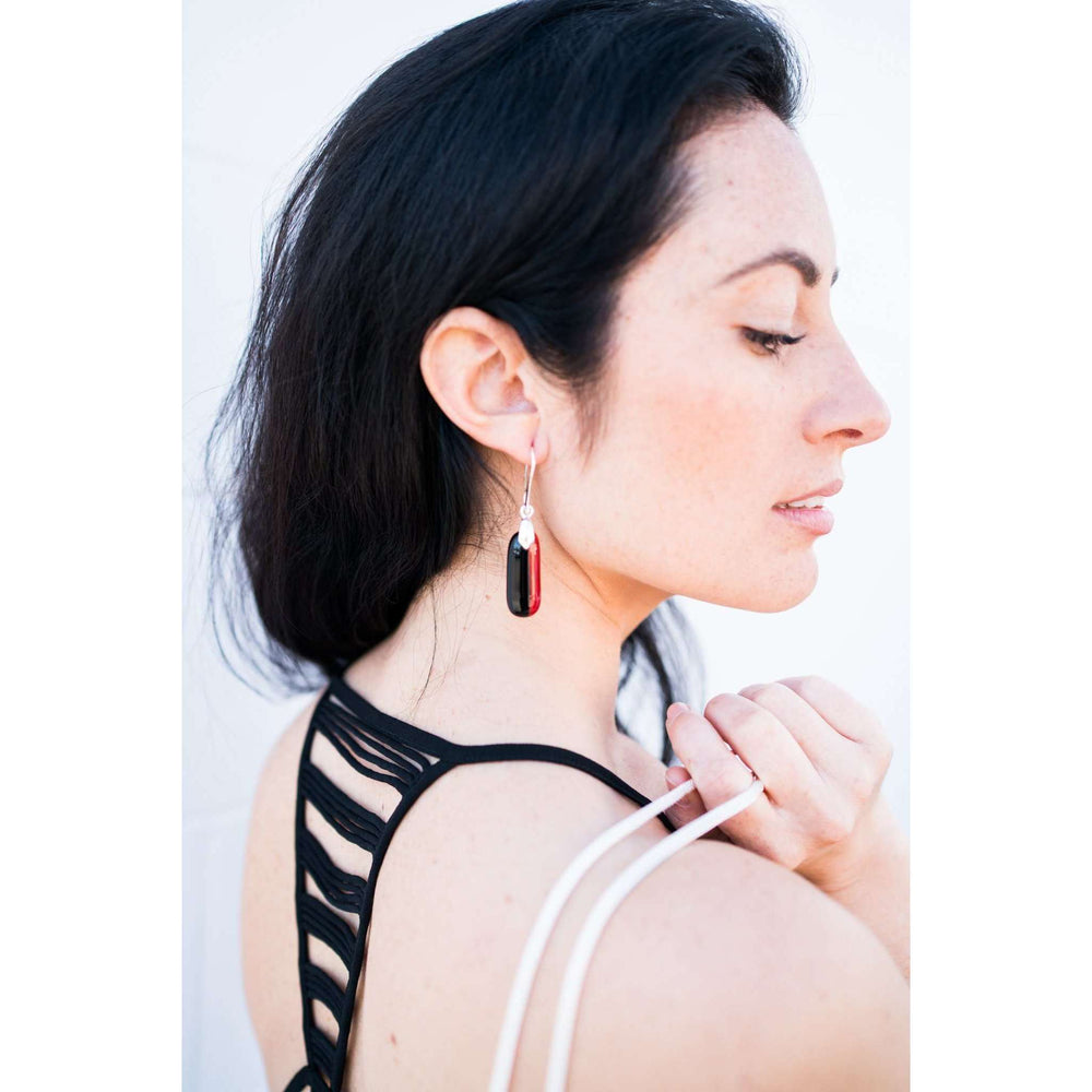 Timeless collection earring- Red and black