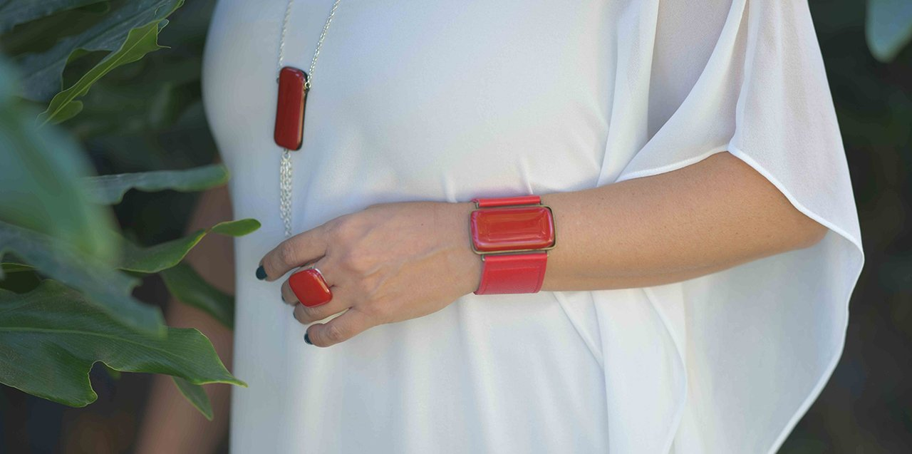 Ilanit Shalev Glass Metal Leather Jewelry
