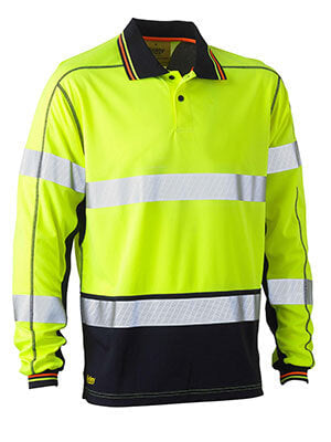 Bisley BK6219T Taped Two Tone Hi Vis Polyester Mesh Long Sleeve Polo Shirt