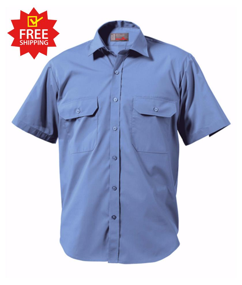 KingGee Short Sleeve Wash 'n' Wear Shirt - 65% Poly/35% Cotton Blend-102gsm