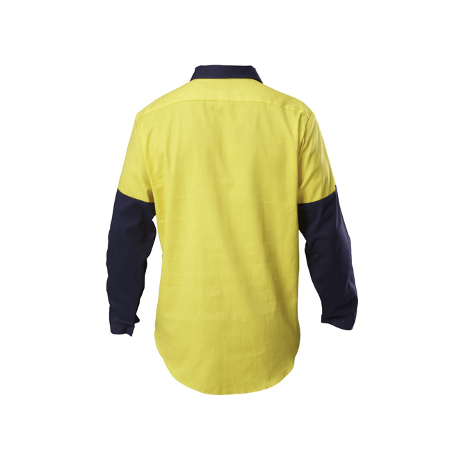 Hard Yakka Y07984 Hi-visibility Two Tone Cotton Drill Closed Front Shirt With Gusset Long Sleeve