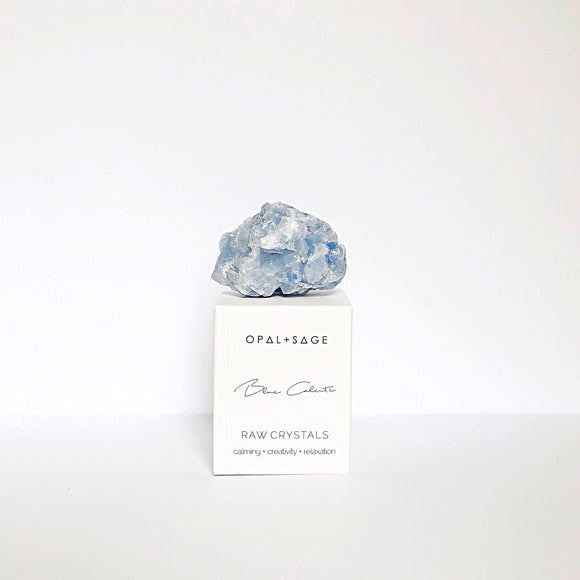 Blue Calcite Crystal - Opal and Sage
