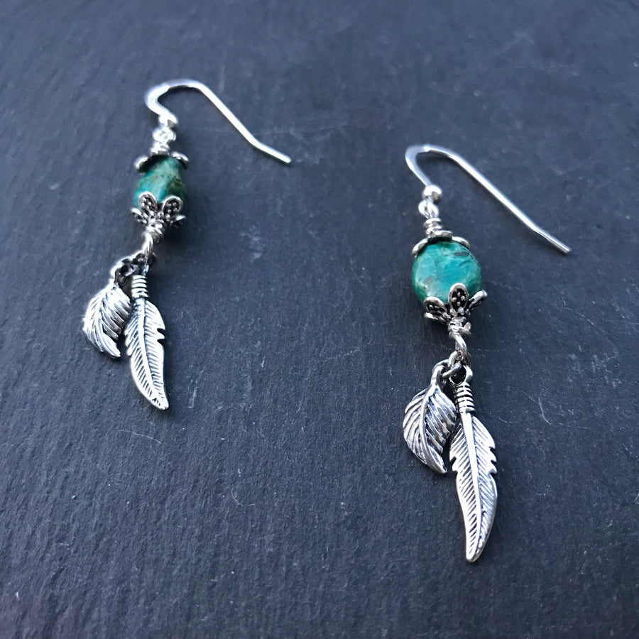 Little Wing Earrings - Green Lagoon