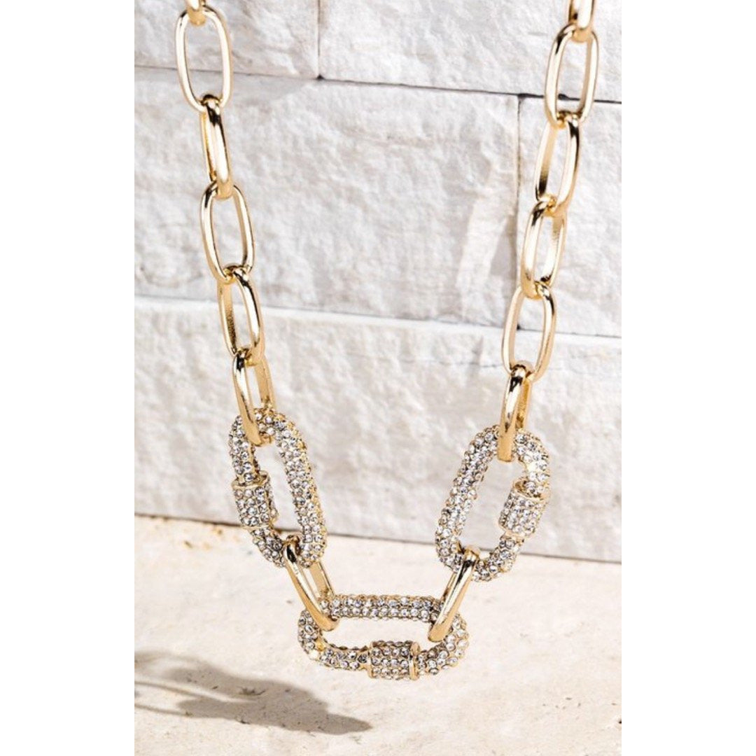 Oval Pave Crystal Screw Lock Necklace