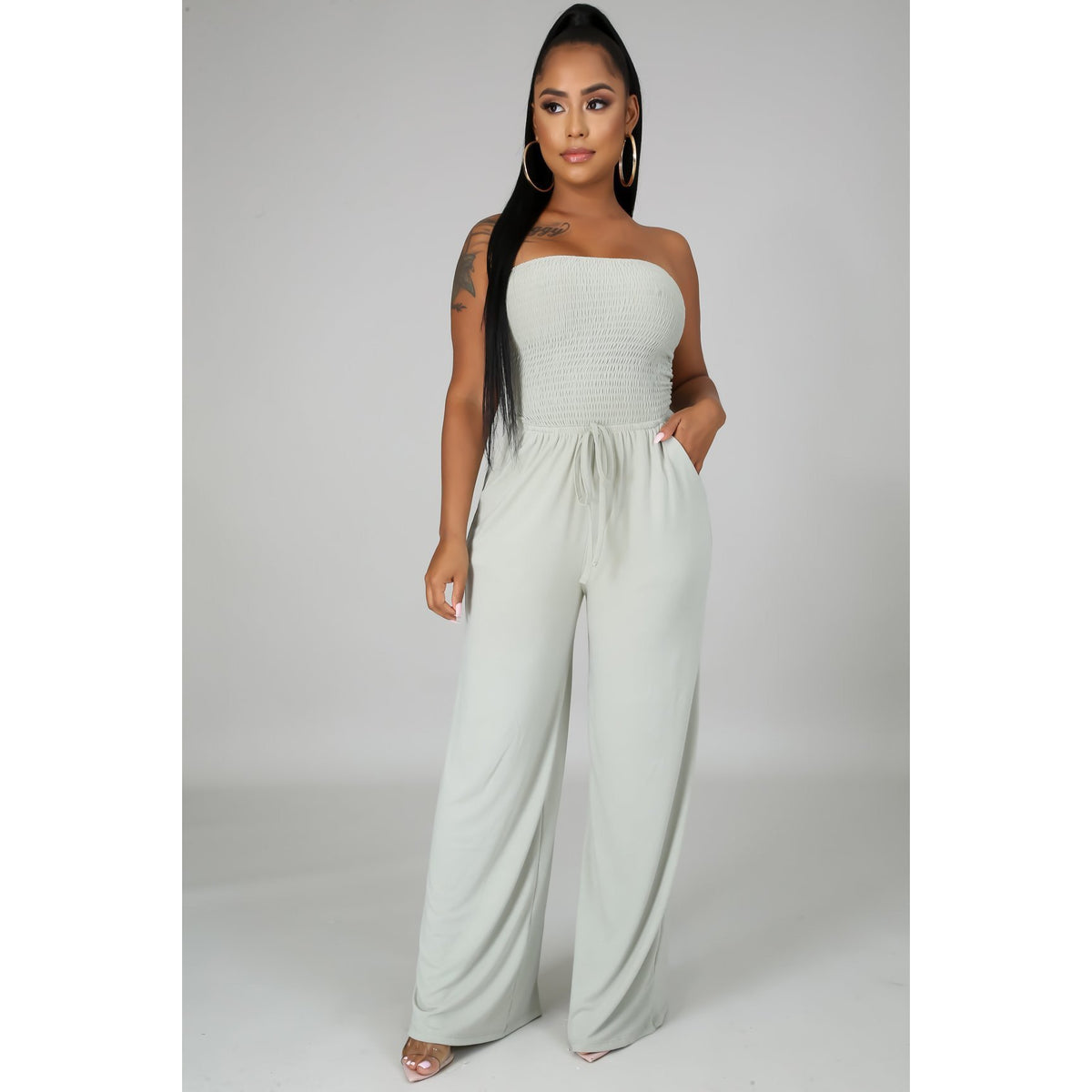 Sage Green Tube Top Breeze Jumpsuit