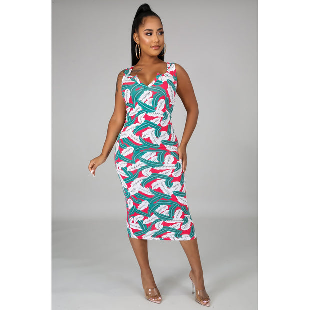 Mia Leaf Print Dress